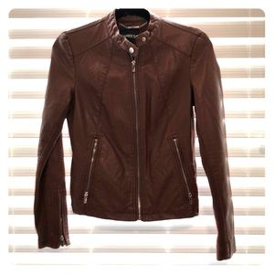 Tan leather jacket silver hardware EXPRESS XS
